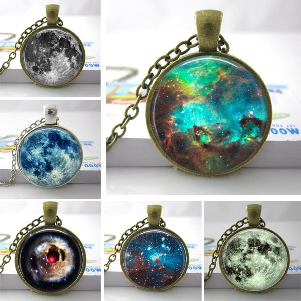C22 Nebula Space Pendant , Astronomy Geek Jewelry, Nebula Pendant Galaxy Necklace Space Necklace Glass Dome Pendant HZ1