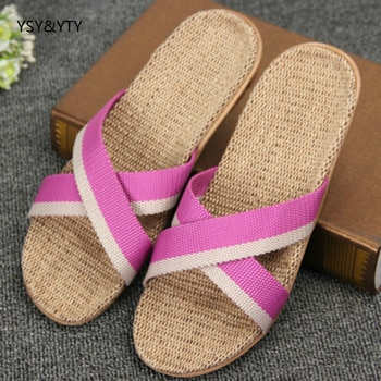 2016 Spring and summer home flax slippers female slippers sandals heavy-bottomed non-slip floor home indoor shoes shoes woman