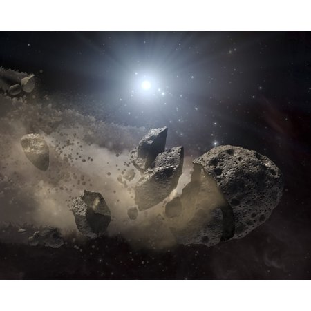 A white dwarf star surrounded by a disintegrating asteroid Canvas Art - Stocktrek Images (32 x 26)