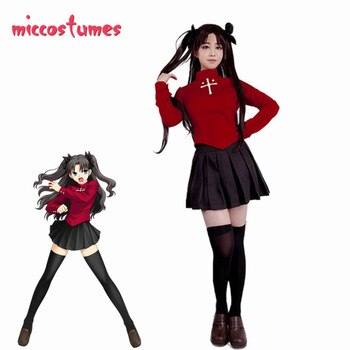 Fate Stay Night Rin Tohsaka Cosplay Costume Women Red Top Skirt Halloween Outfit