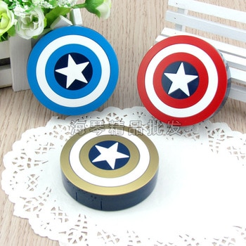 LIUSVENTINA Hot Sale cute Lovely Captain America contact lens case lenses container box for color lenses Gift for Girls and Boys