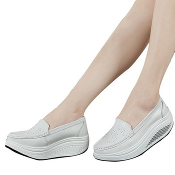 QSR spring genuine leather mother casual woman shoes swing shoes white nurse shoes slip-resistant plus size platform