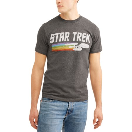 Star Trek Big Men's Starship Enterprise Rainbow Trail Short Sleeve Graphic T-Shirt, 2XL