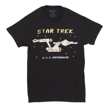 Star Trek Men's U.S.S. Enterprise Pixelated Graphic T-Shirt