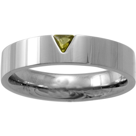 Star Trek Unisex Yellow Crystal Stainless Steel Band, 5mm