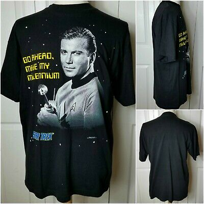 Star Trek Vintage Captain Kirk Mens L T Shirt William Shatner Make My Millennium