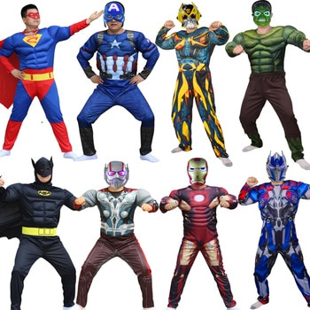 Superhero Batman Captain America Hulk With Mask Holiday Party Cosplay Costumes Adults Men Women Batman Halloween dress up