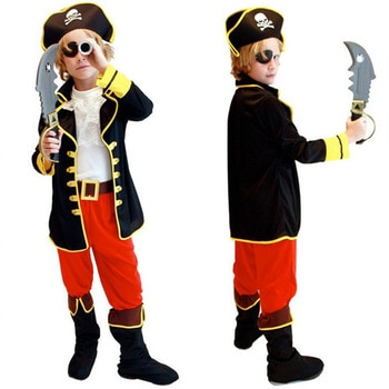 24 Hours Ship Birthday Kids Boys Pirate Costume Cosplay Set For Children Halloween Christmas For Children Fancy Party Dress