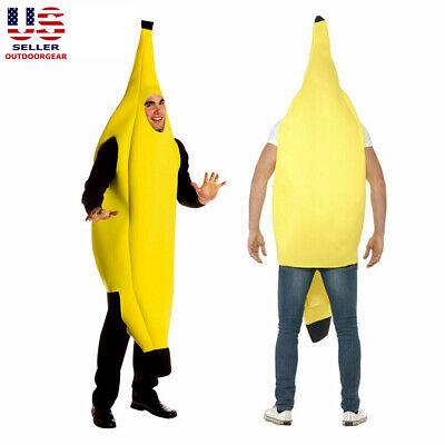 Fun Adult Banana Body Suit Halloween Party Costume Men Funny Fruit Fancy Dress