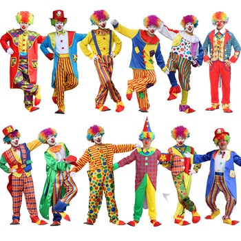 Halloween Costumes Adult Funny Circus Naughty Harlequin Uniform Fancy Dress Cosplay Clothing for Men Women Adult Clown Costume