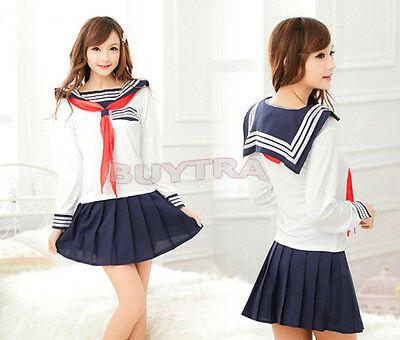Japanese School Girl Dress Outfit Sailor Uniform Cosplay Costume Fancy DressNJ