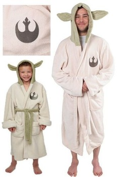 Star Wars Lucasfilm Yoda Both Robe Cosplay Costume Jedi Fleece Hooded BathRobe Dress Gown Adult Kids Child Pajamas Sleeping Wear