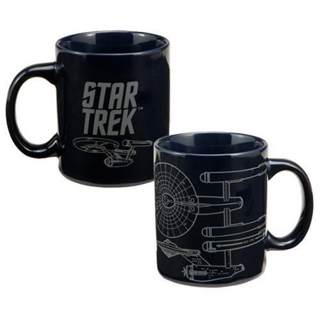 Vandor 80062 Star Trek Enterprise 12 oz Ceramic Mug, Blue Multi-Colored