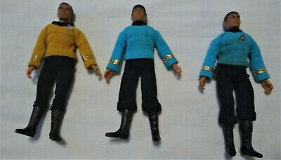 Vintage Star Trek Mego 3 Figure Lot Kirk, Spock & McCoy in uniforms 1974